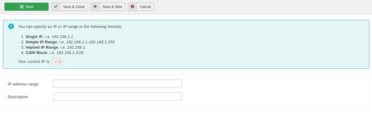 Admin Tools for Joomla! :: Administrator IP Whitelist