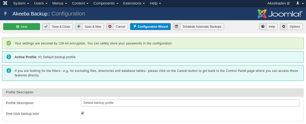 Akeeba Backup for Joomla! :: Configuration