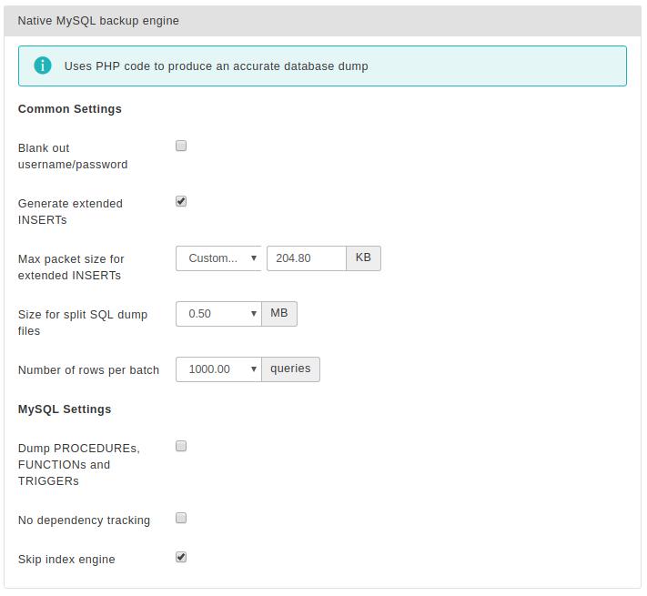 Akeeba Backup for Joomla! :: Database dump engines