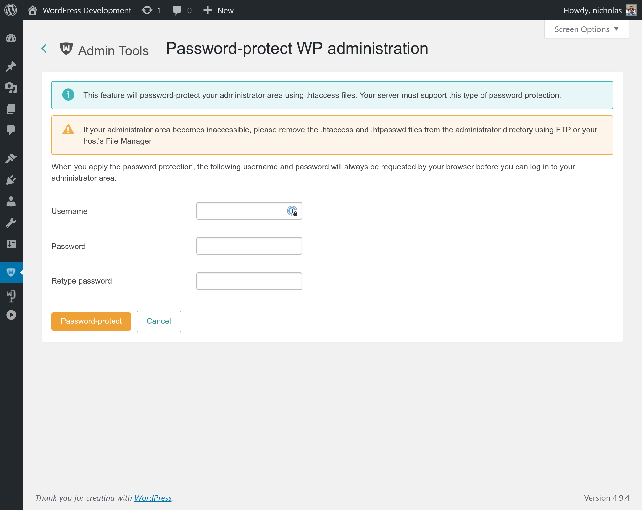 074ee6d533d Admin Tools for WordPress :: Protect your WordPress administration ...