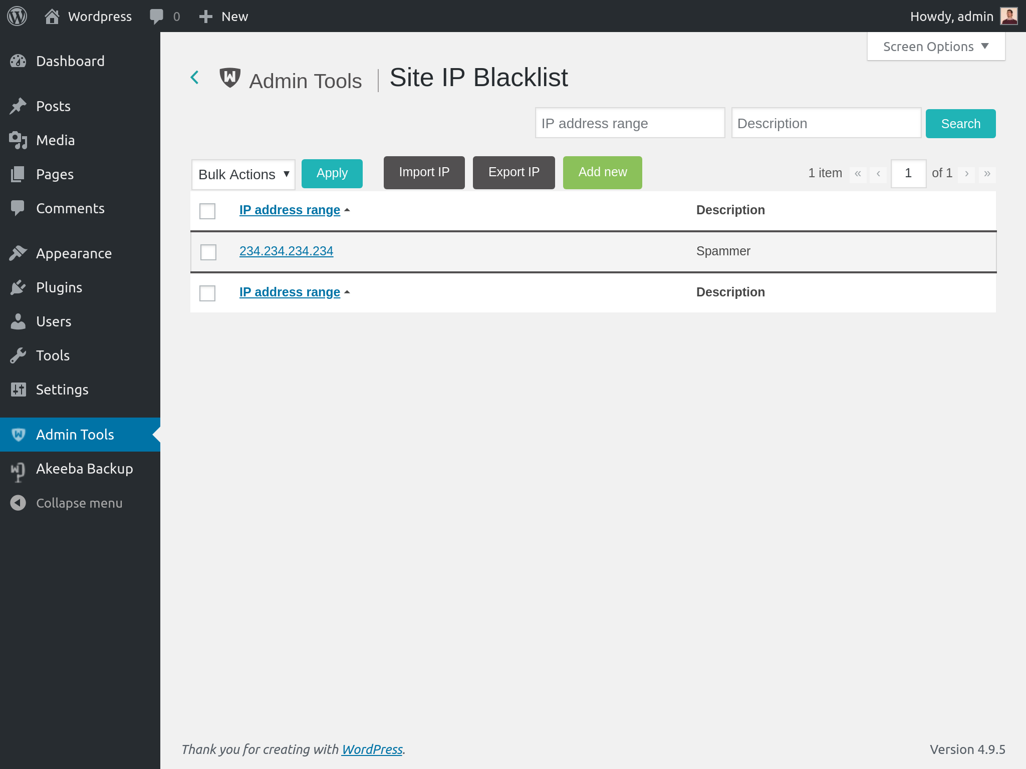 Admin Tools for WordPress :: Site IP Blacklist